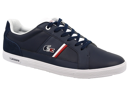 Lacoste EUROPA 317 1 Marine / Blanc - Chaussures Baskets basses Homme