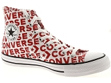 CONVERSE CHUCK TAYLOR ALL STAR<br>Toile BLANC ROUGE - Textile Caoutchouc Gomme