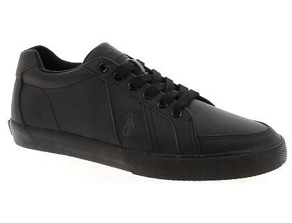 4b716f8bc0e Les baskets basses ralph lauren hugh cuir noir - chaussures homme ...