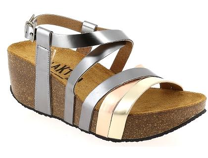 f2623dfbfc26c Les sandales et nu-pieds plakton so song argent - chaussures femme ...