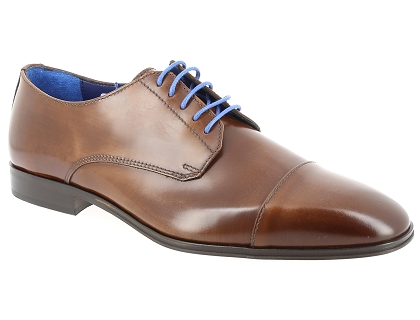 chaussures a lacets azzaro remake cognac marron