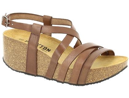 7c19c66bb6a00 Les sandales et nu-pieds plakton so song marron - chaussures femme ...