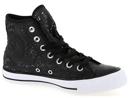 Les Fem Noir Converse Baskets Montantes Chaussures Paillettes awHravq